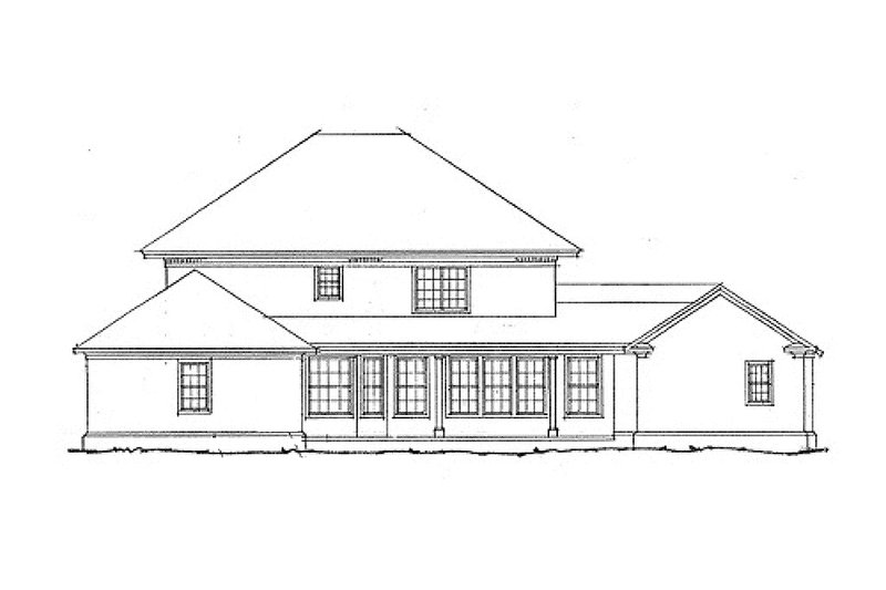 Southern Colonial style home, rear elevation