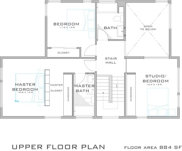 Modern Style House Plan - 3 Beds 2.5 Baths 1682 Sq/Ft Plan #909-2 Floor Plan - Upper Floor Plan