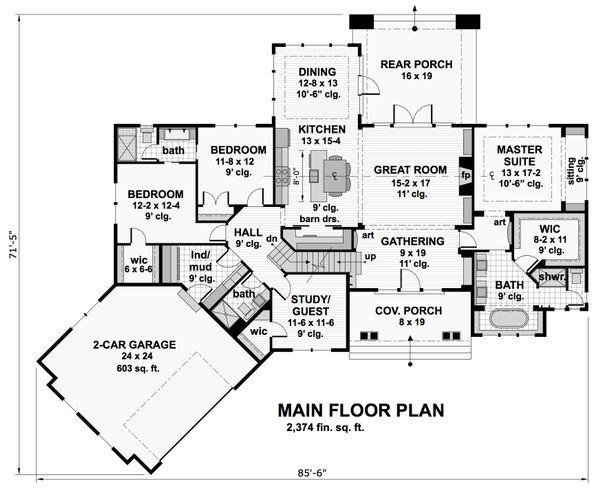 Craftsman Floor Plan - Main Floor Plan #51-569