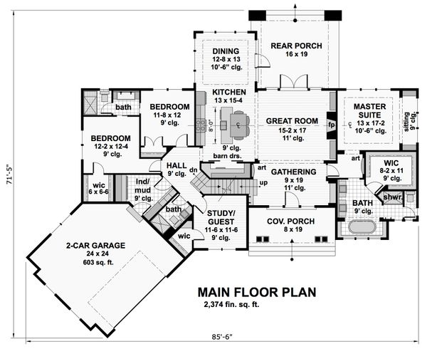Craftsman Floor Plan - Main Floor Plan Plan #51-569