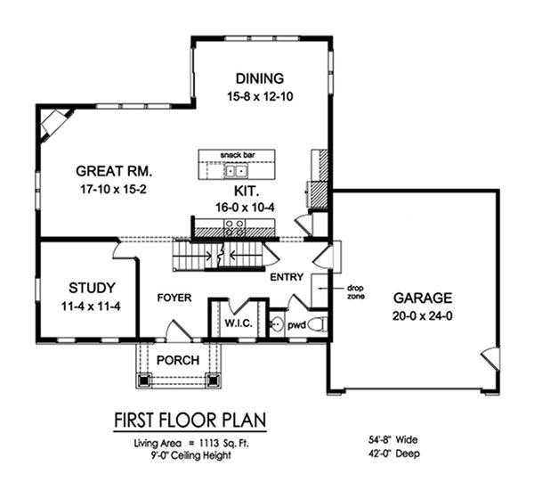 Traditional Floor Plan - Main Floor Plan Plan #1010-240
