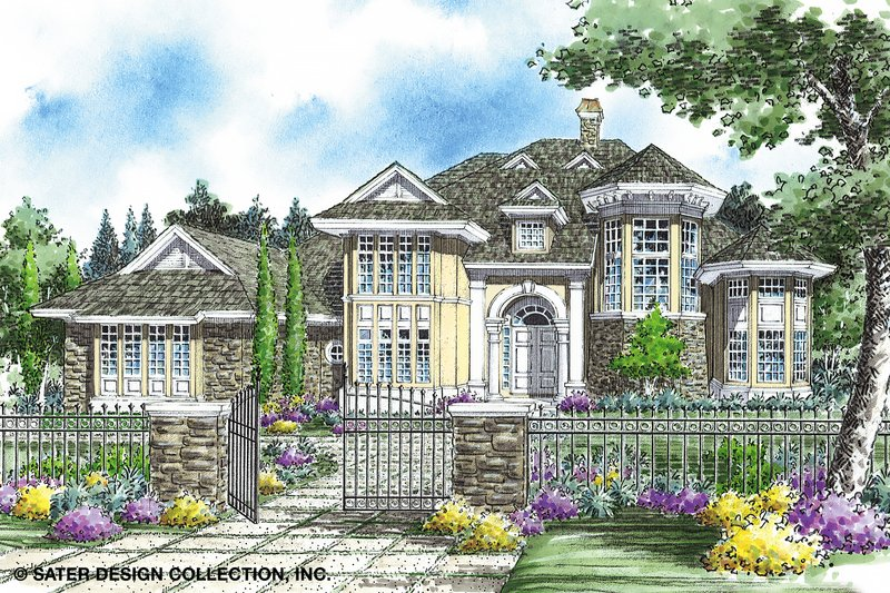 European Style House Plan - 4 Beds 3.5 Baths 3956 Sq/Ft Plan #930-259 Exterior - Front Elevation