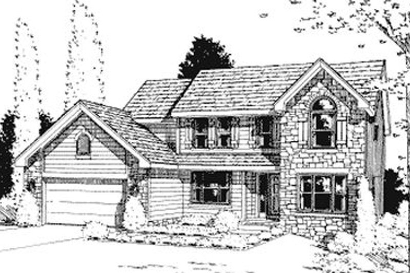 Traditional Exterior - Front Elevation Plan #20-747 - Houseplans.com