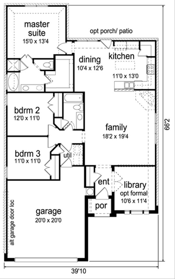 Traditional Floor Plan - Main Floor Plan Plan #84-551