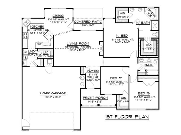 Craftsman Floor Plan - Main Floor Plan Plan #1064-60
