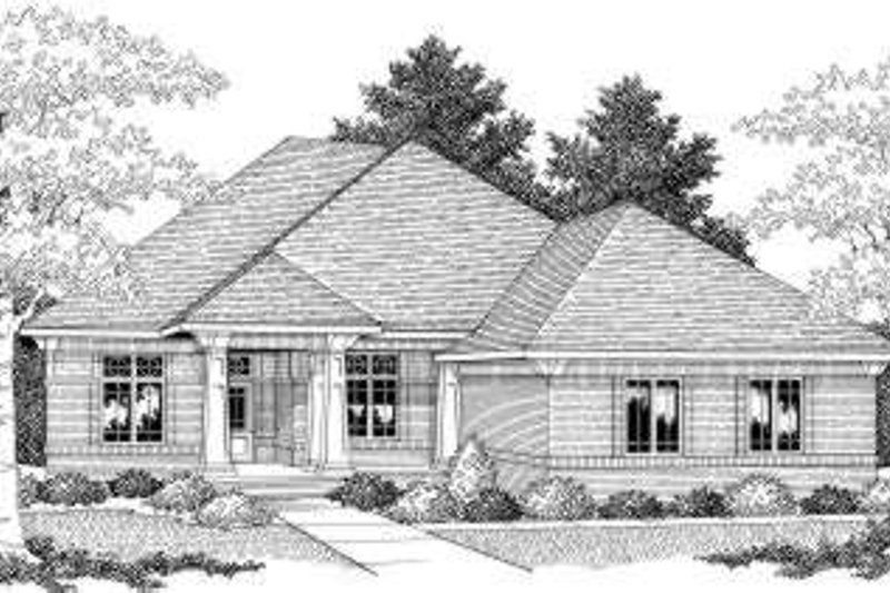 European Style House Plan - 2 Beds 1.5 Baths 2249 Sq/Ft Plan #70-593 Exterior - Front Elevation