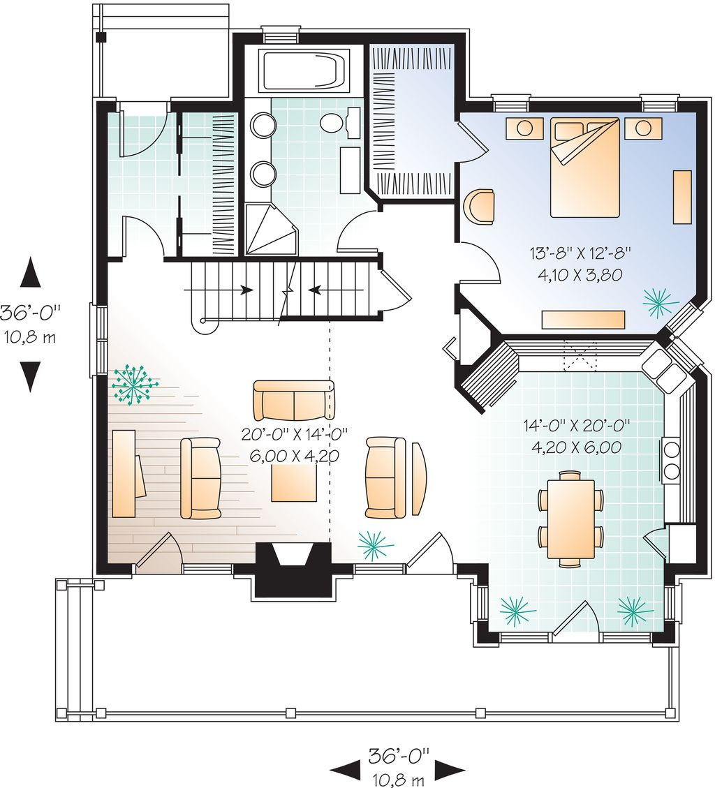 Cottage style house plan 3 beds 2 baths 1625 sq ft plan for Eight bedroom house plans