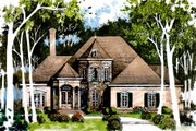 European Style House Plan - 5 Beds 4 Baths 3196 Sq/Ft Plan #429-1 Exterior - Front Elevation