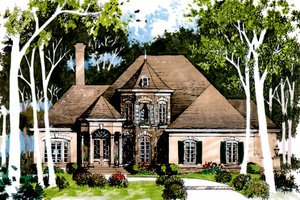 European Exterior - Front Elevation Plan #429-1