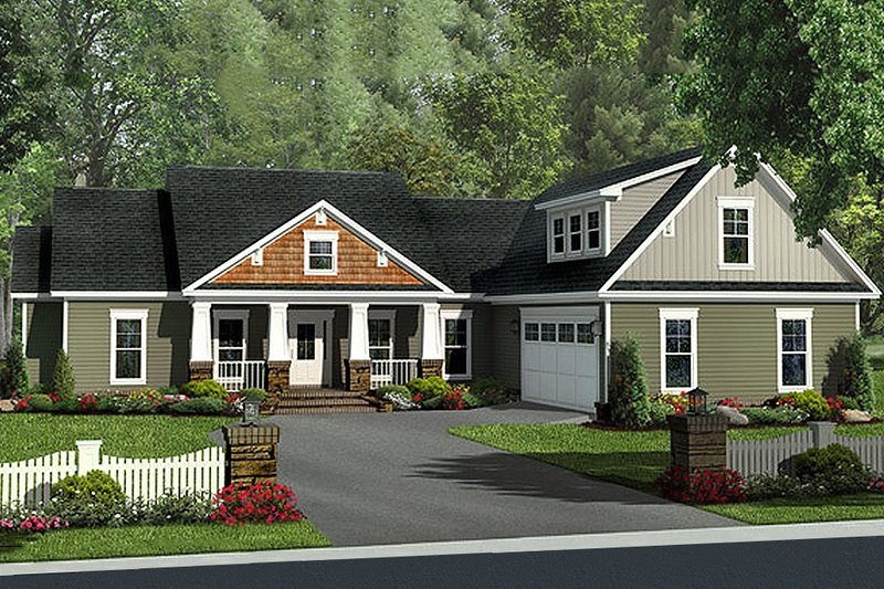 Craftsman Style House Plan - 4 Beds 2.5 Baths 2140 Sq/Ft Plan #21-311 Exterior - Front Elevation