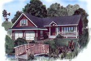 Ranch Style House Plan - 3 Beds 2 Baths 1312 Sq/Ft Plan #409-112 Exterior - Front Elevation