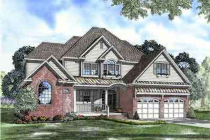 European Style House Plan - 4 Beds 4 Baths 2642 Sq/Ft Plan #17-2136 Exterior - Front Elevation