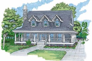 Southern Exterior - Front Elevation Plan #47-347