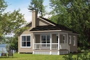 Cottage Style House Plan - 3 Beds 1 Baths 660 Sq/Ft Plan #25-4383 Exterior - Front Elevation