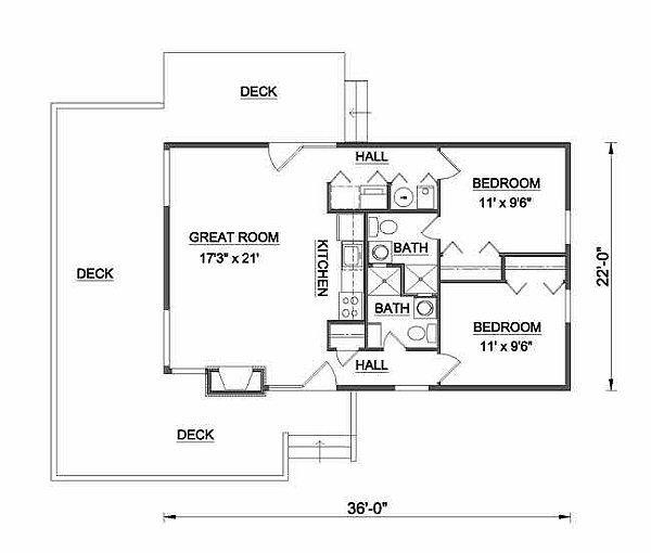 Cabin Floor Plan - Main Floor Plan Plan #116-104