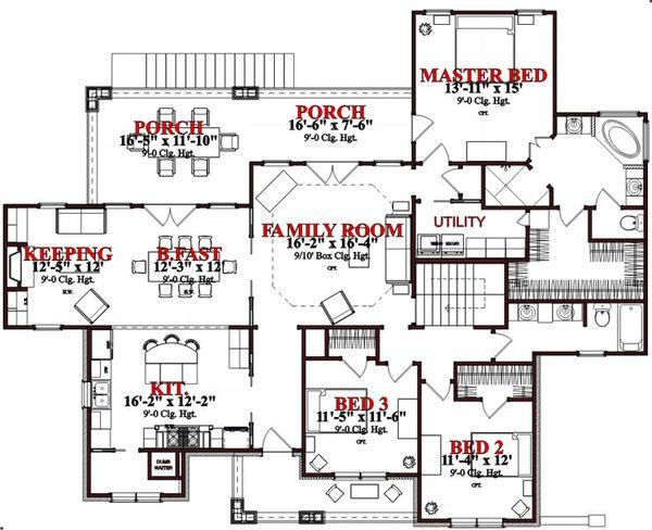 Craftsman Floor Plan - Main Floor Plan #63-189