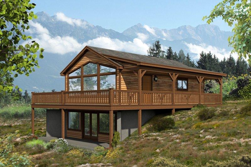 Cabin Exterior - Front Elevation Plan #932-107