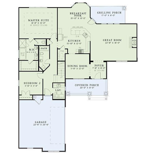 House Plan Design - Craftsman Floor Plan - Main Floor Plan #17-2413