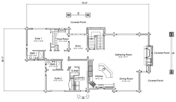 Log Floor Plan - Main Floor Plan Plan #451-28
