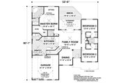 Colonial Style House Plan - 3 Beds 2.5 Baths 1800 Sq/Ft Plan #56-590 Floor Plan - Main Floor Plan