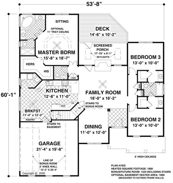 Colonial Floor Plan - Main Floor Plan #56-590