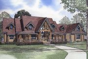 Log Style House Plan - 4 Beds 4.5 Baths 4885 Sq/Ft Plan #17-516 Exterior - Front Elevation