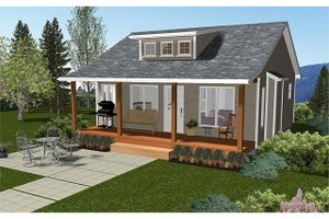Cabin Exterior - Front Elevation Plan #126-216