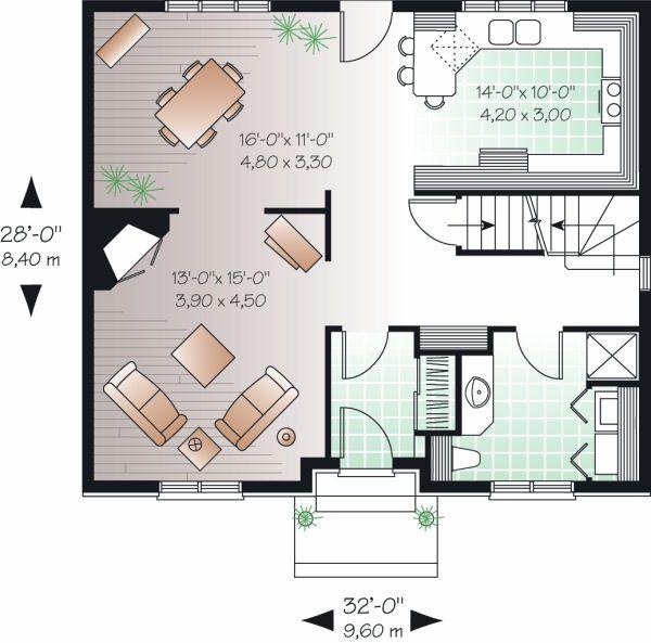 Colonial Floor Plan - Main Floor Plan Plan #23-730