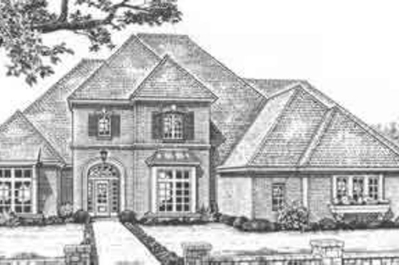 European Style House Plan - 4 Beds 3.5 Baths 4187 Sq/Ft Plan #310-513 Exterior - Front Elevation