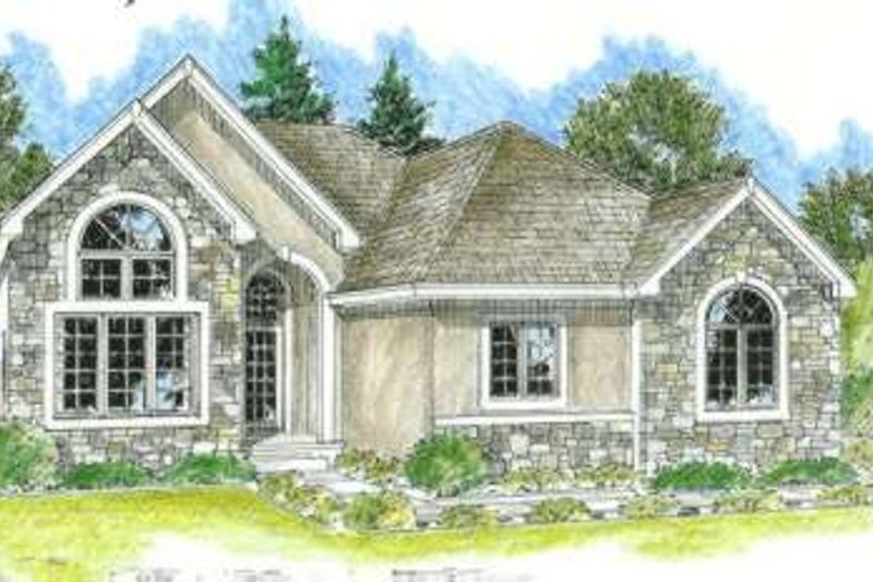 Traditional Style House Plan - 2 Beds 2 Baths 1503 Sq/Ft Plan #20-1643 Exterior - Front Elevation