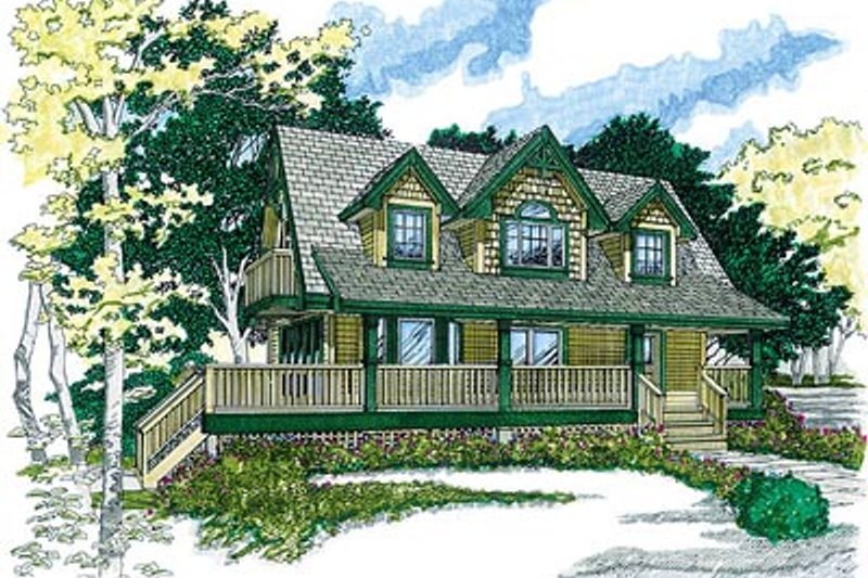Country Style House Plan - 3 Beds 2 Baths 1365 Sq/Ft Plan #47-383 Exterior - Front Elevation