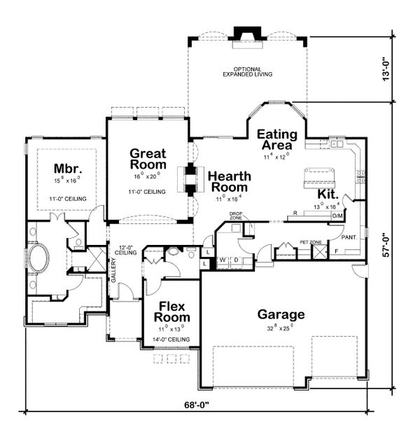 House Plan Design - Ranch Floor Plan - Main Floor Plan #20-2306