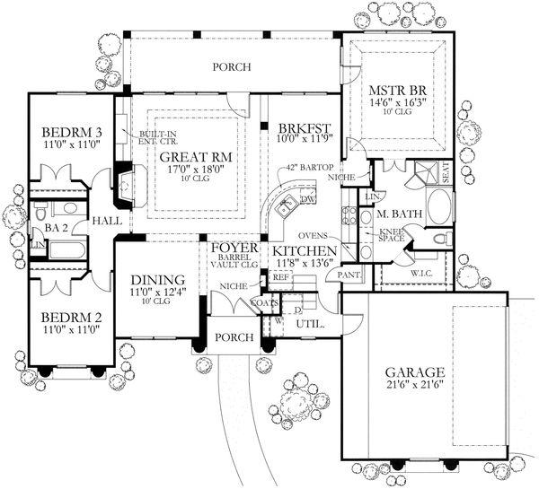 House Plan Design - Mediterranean Floor Plan - Main Floor Plan #80-113