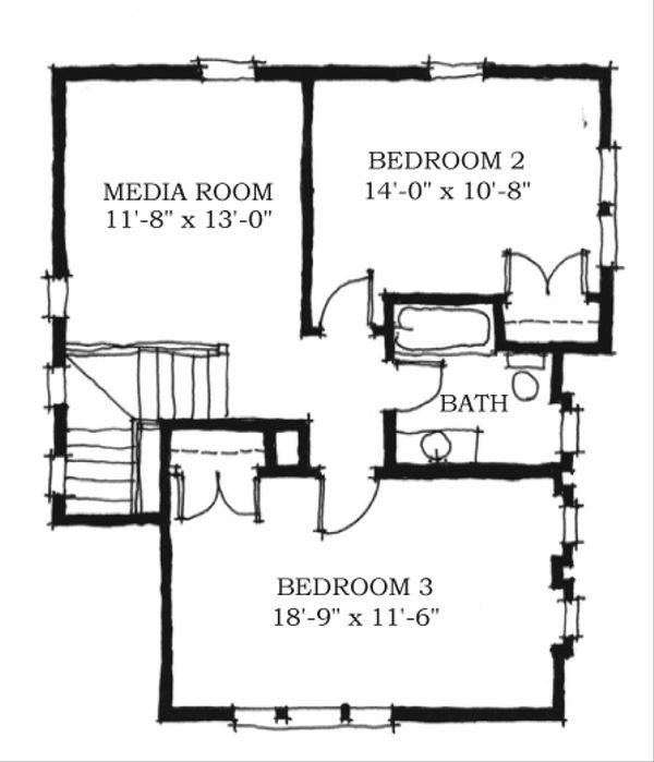 Farmhouse Style House Plan - 3 Beds 2.5 Baths 2038 Sq/Ft Plan #464-7 Floor Plan - Upper Floor Plan