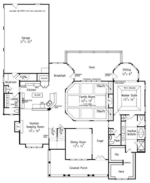 Craftsman Style House Plan - 4 Beds 5.5 Baths 3878 Sq/Ft Plan #927-5 Floor Plan - Main Floor Plan