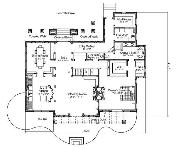 Home Plan - Log Floor Plan - Main Floor Plan #451-27