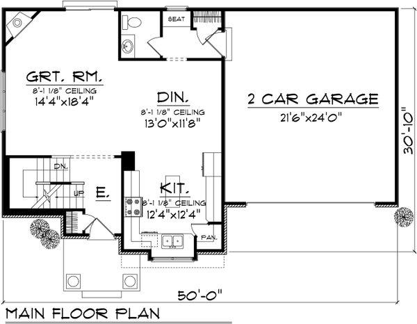 Traditional Floor Plan - Main Floor Plan Plan #70-1028
