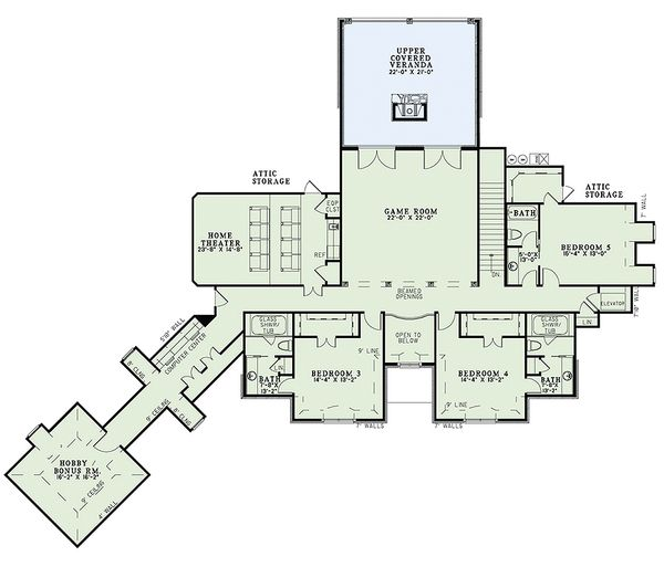 European Floor Plan - Upper Floor Plan Plan #17-2366
