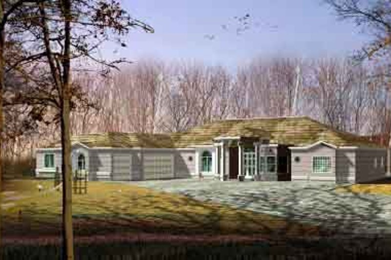Adobe / Southwestern Style House Plan - 4 Beds 4 Baths 3507 Sq/Ft Plan #1-841 Exterior - Front Elevation