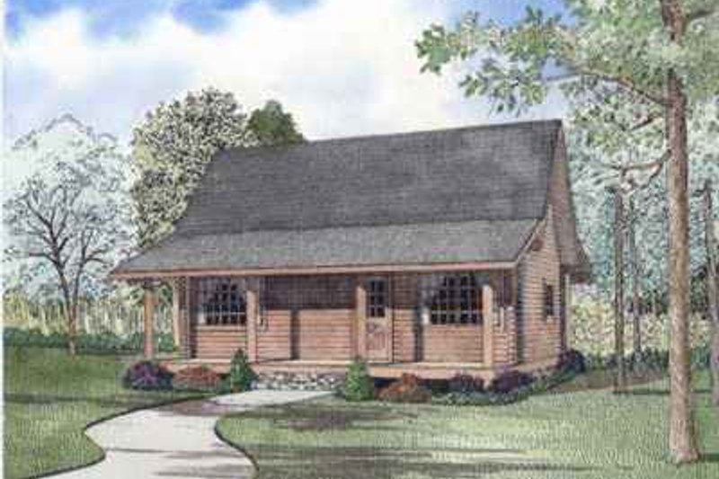 Log Style House Plan - 2 Beds 1 Baths 977 Sq/Ft Plan #17-508 Exterior - Front Elevation