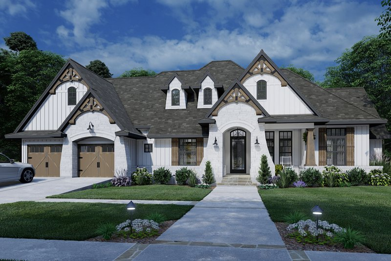 Dream House Plan - Farmhouse Exterior - Front Elevation Plan #120-264