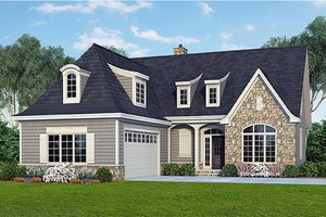 Cottage Exterior - Front Elevation Plan #929-23