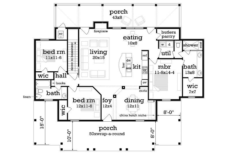 Ranch Floor Plan - Main Floor Plan Plan #45-579
