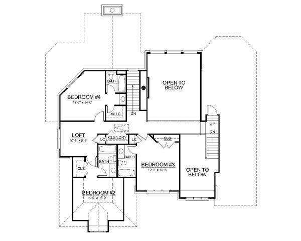 European Floor Plan - Upper Floor Plan #119-297