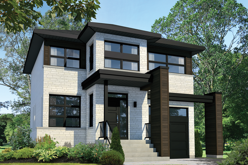 Contemporary Style House Plan - 3 Beds 1 Baths 1660 Sq/Ft Plan #25-4308 Exterior - Front Elevation
