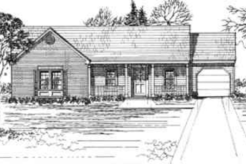 Ranch Style House Plan - 3 Beds 2 Baths 1350 Sq/Ft Plan #30-127 Exterior - Front Elevation