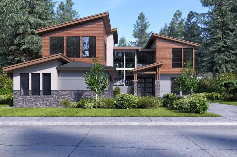 Contemporary Style House Plan - 4 Beds 3 Baths 3398 Sq/Ft Plan #1066-66 Exterior - Front Elevation