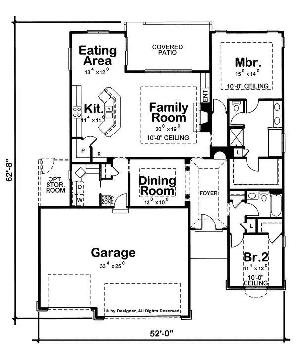 Home Plan - Ranch Floor Plan - Main Floor Plan #20-2255