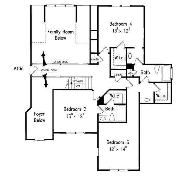Traditional Floor Plan - Upper Floor Plan Plan #927-11