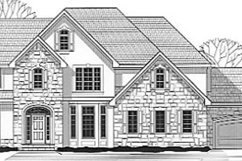 European Style House Plan - 4 Beds 3.5 Baths 3903 Sq/Ft Plan #67-613 Exterior - Front Elevation